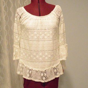 NWT Style & Co XS White Lace Top Off Shoulders